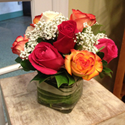 1DZ. ROSES IN CUBE  from Redwood Florist in New Brunswick, NJ