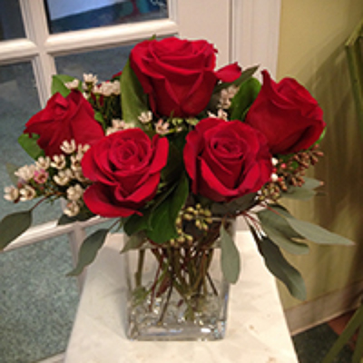 1/2 DZ. RED ROSES IN VASE  from Redwood Florist in New Brunswick, NJ