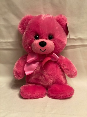 "HOT PINK BEAR 10"" from Redwood Florist in New Brunswick, NJ"