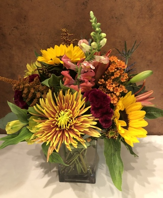 FALL MIX IN RECTANGULAR GLASS VASE from Redwood Florist in New Brunswick, NJ