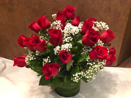 2DZ RED ROSES IN A VASE from Redwood Florist in New Brunswick, NJ